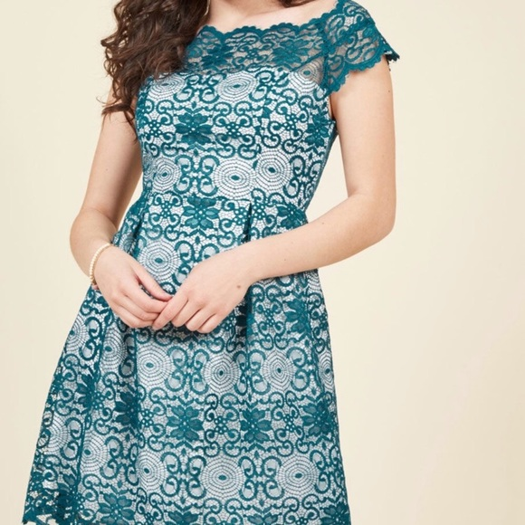 b7555a705f86 Optimal Enchantment Lace Dress in Teal by ModCloth